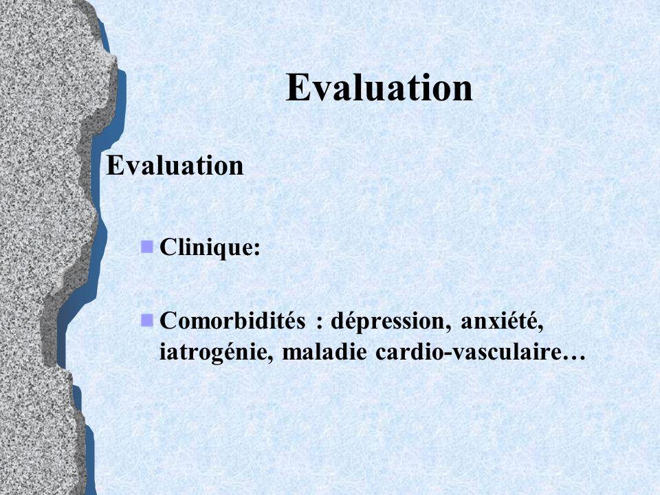 Evaluation Clinique: Comorbidités : dépression, anxiété, iatrogénie, maladie cardio-vasculaire…