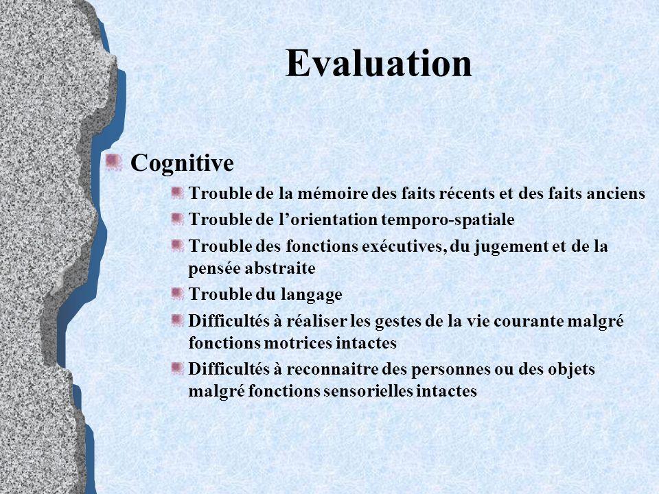 Evaluation Cognitive Trouble de la mémoire des faits récents et des faits anciens Trouble de lorientation temporo-spatiale Trouble des fonctions exécu