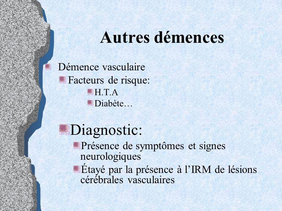 Autres démences Démence vasculaire Facteurs de risque: H.T.A Diabète… Diagnostic: Présence de symptômes et signes neurologiques Étayé par la présence