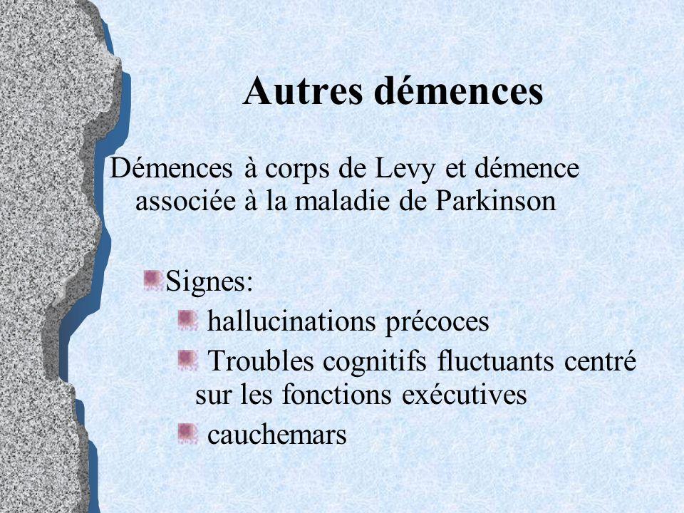 Autres démences Démences à corps de Levy et démence associée à la maladie de Parkinson Signes: hallucinations précoces Troubles cognitifs fluctuants c