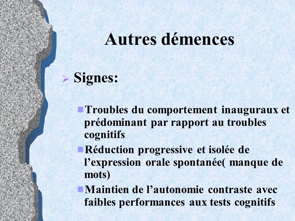 Autres démences Signes: Troubles du comportement inauguraux et prédominant par rapport au troubles cognitifs Réduction progressive et isolée de lexpre
