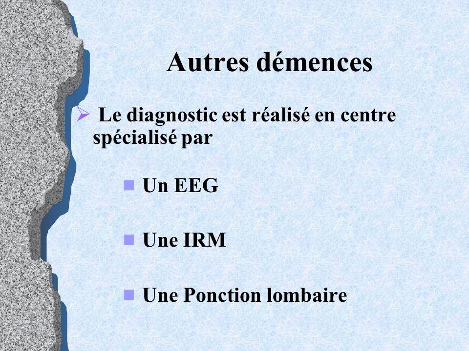 Autres démences Le diagnostic est réalisé en centre spécialisé par Un EEG Une IRM Une Ponction lombaire