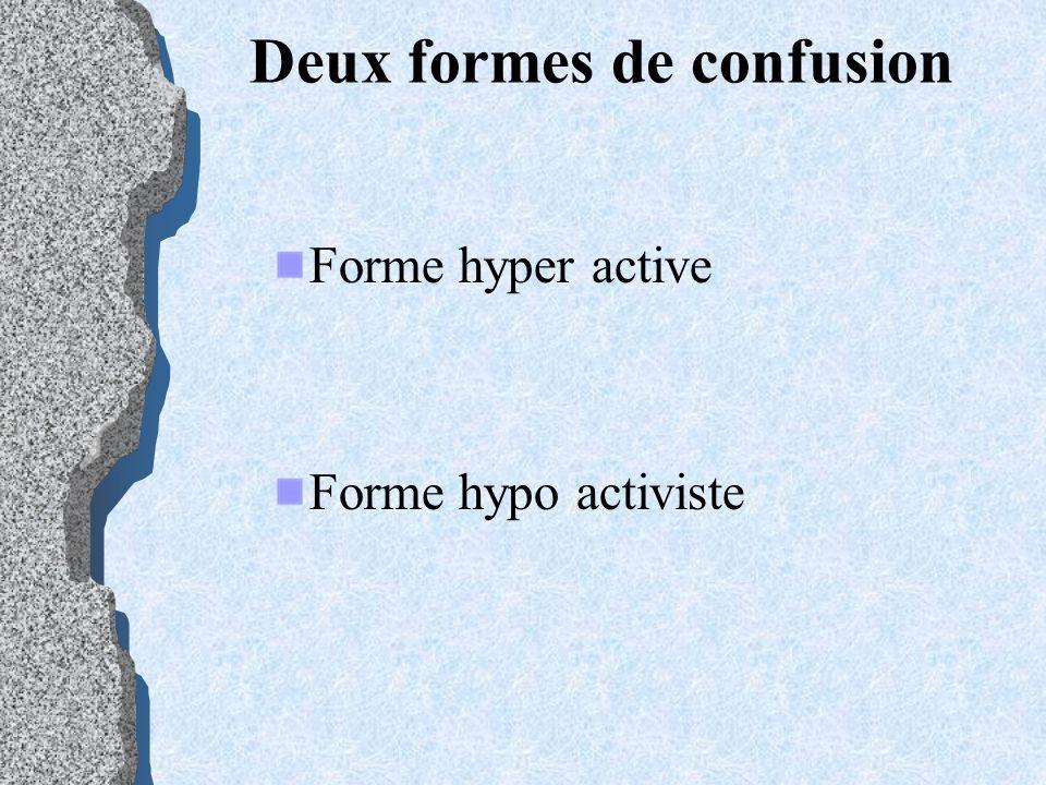 Deux formes de confusion Forme hyper active Forme hypo activiste