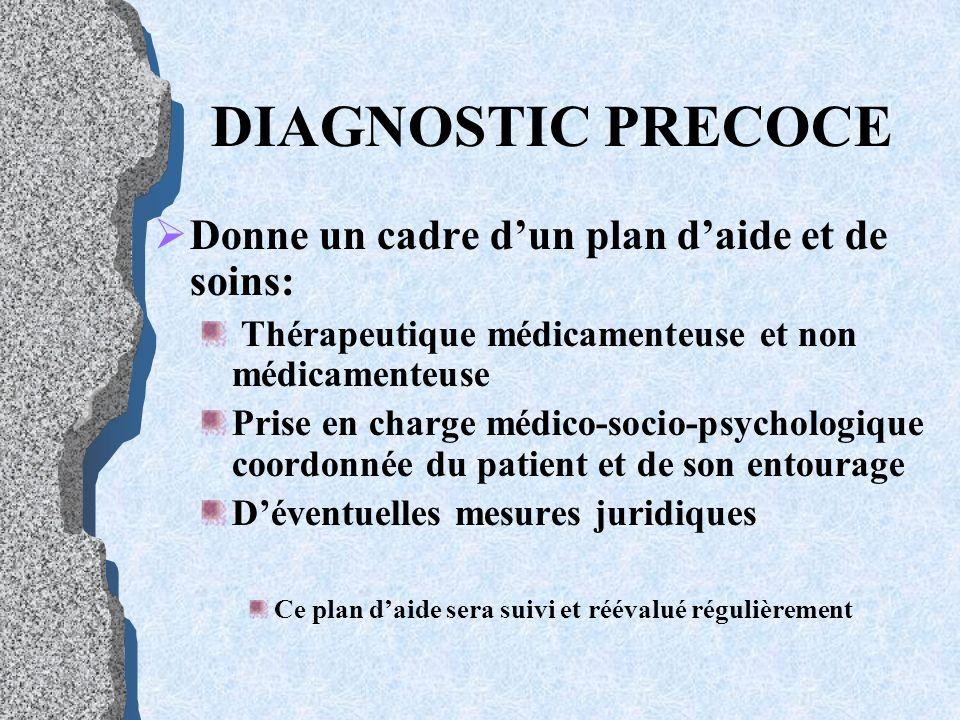 DIAGNOSTIC PRECOCE D onne un cadre dun plan daide et de soins: Thérapeutique médicamenteuse et non médicamenteuse Prise en charge médico-socio-psychol