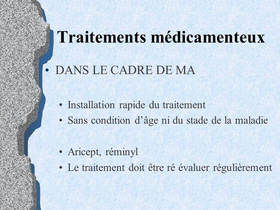 DANS LE CADRE DE MA Installation rapide du traitement Sans condition dâge ni du stade de la maladie Aricept, réminyl Le traitement doit être ré évalue