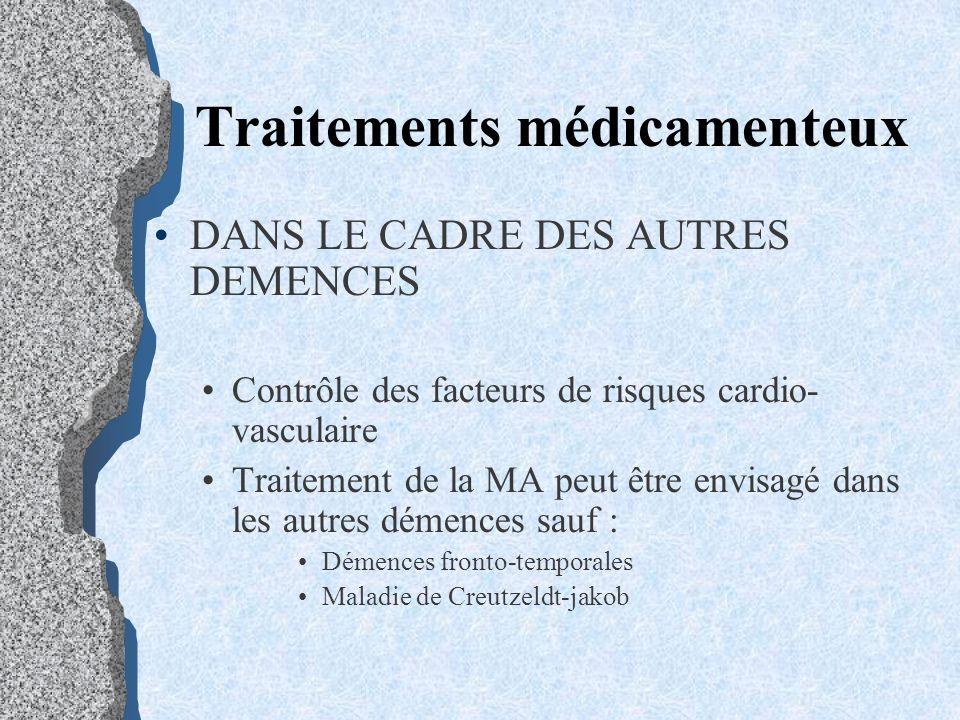 Traitements médicamenteux DANS LE CADRE DES AUTRES DEMENCES Contrôle des facteurs de risques cardio- vasculaire Traitement de la MA peut être envisagé