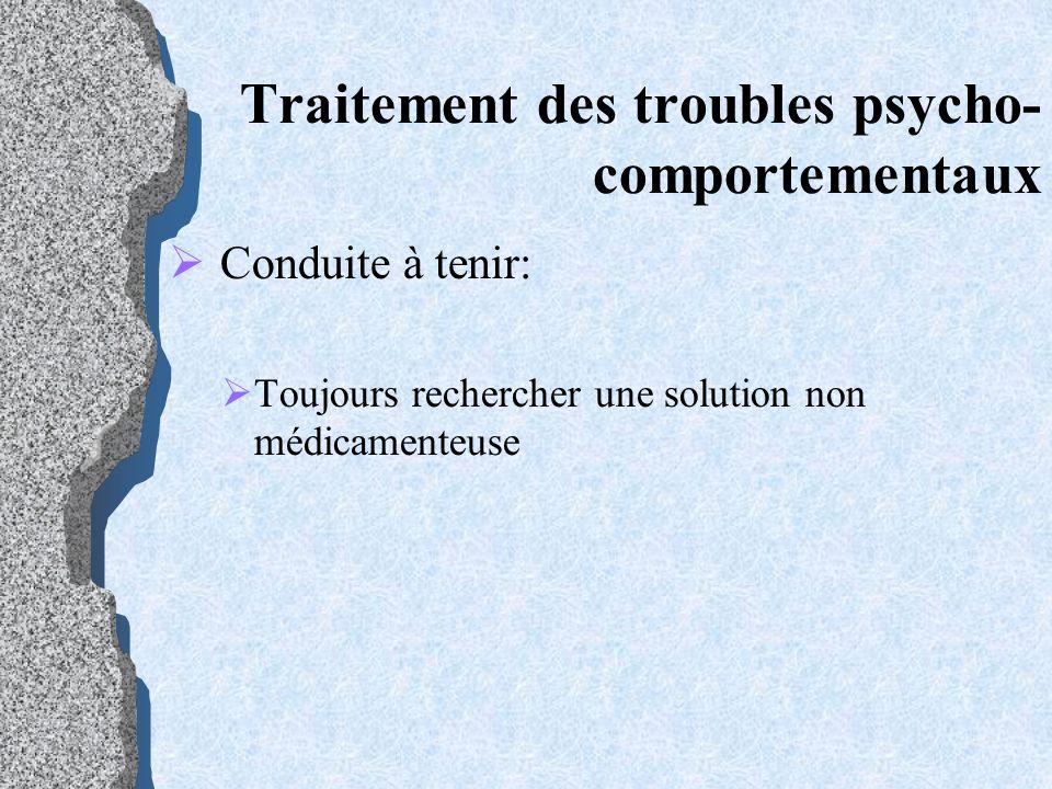 Traitement des troubles psycho- comportementaux Conduite à tenir: Toujours rechercher une solution non médicamenteuse