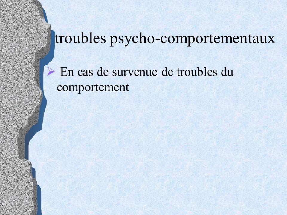 troubles psycho-comportementaux En cas de survenue de troubles du comportement