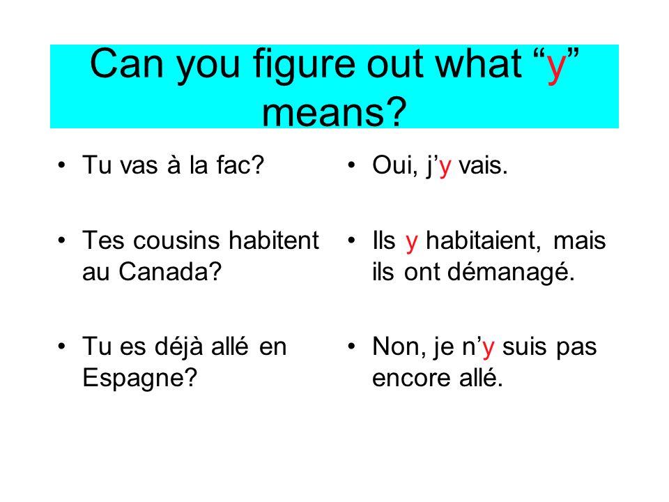 Can you figure out what y means? Tu vas à la fac? Tes cousins habitent au Canada? Tu es déjà allé en Espagne? Oui, jy vais. Ils y habitaient, mais ils
