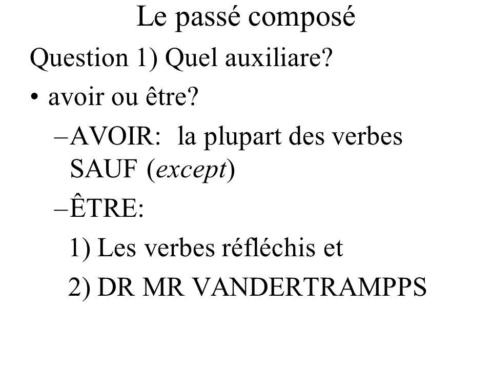 Le passé composé Question 1) Quel auxiliare? avoir ou être? –AVOIR: la plupart des verbes SAUF (except) –ÊTRE: 1) Les verbes réfléchis et 2) DR MR VAN