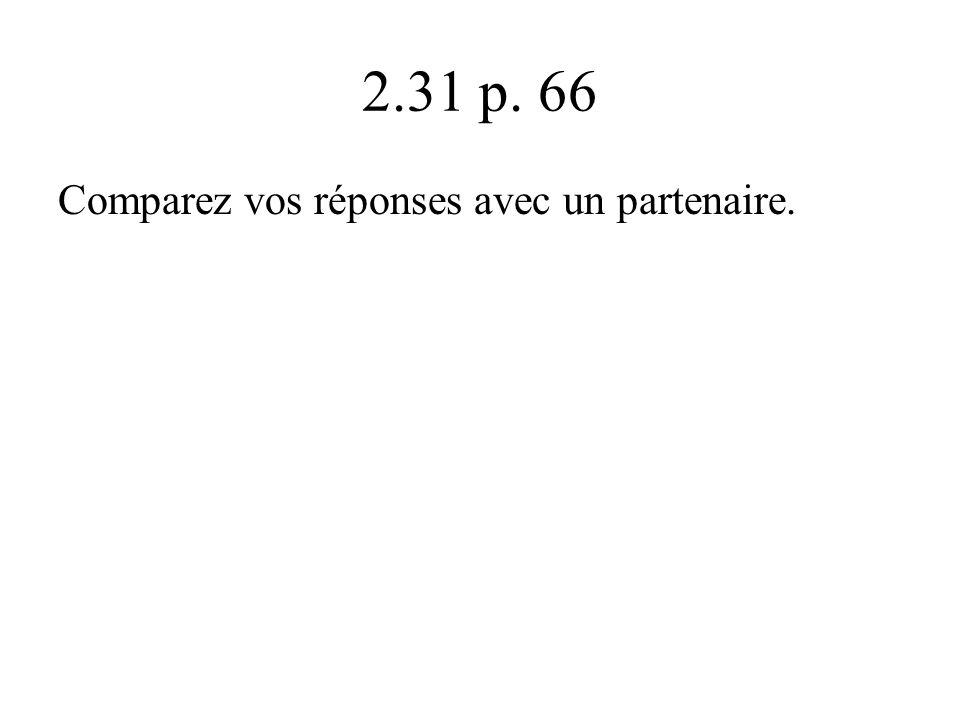 2.31 p. 66 Comparez vos réponses avec un partenaire.