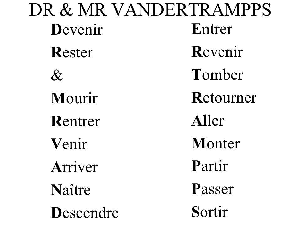 DR & MR VANDERTRAMPPS Devenir Rester & Mourir Rentrer Venir Arriver Naître Descendre Entrer Revenir Tomber Retourner Aller Monter Partir Passer Sortir