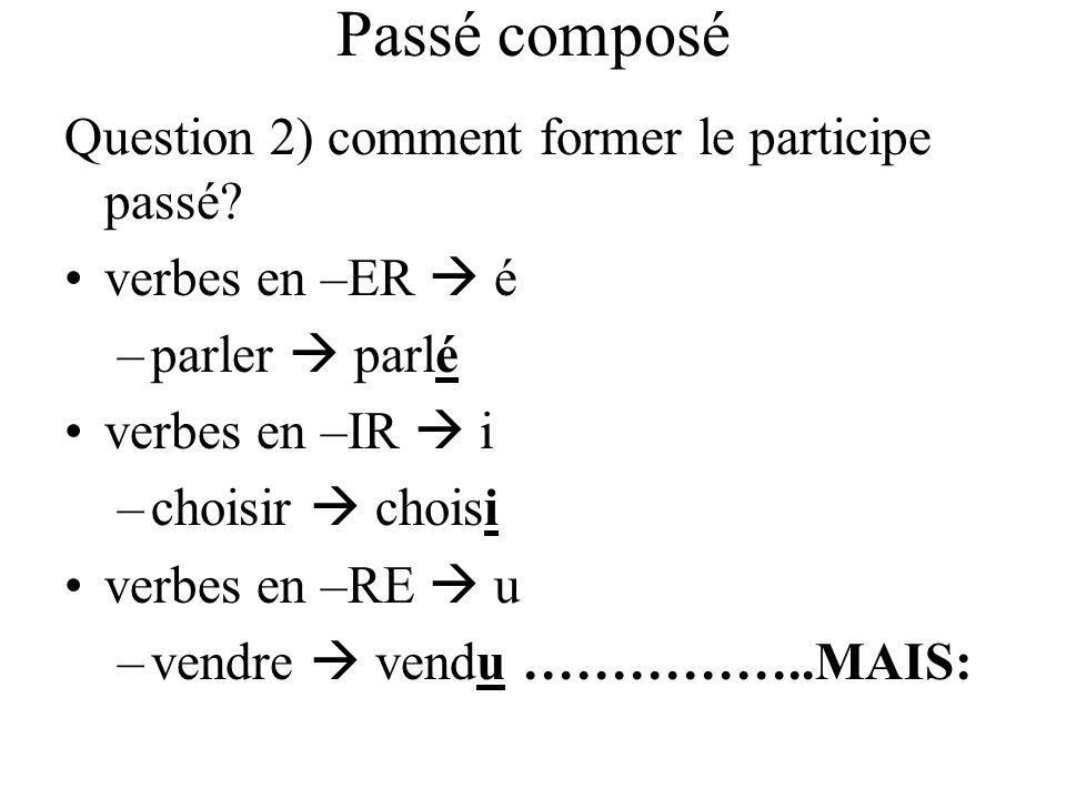 Passé composé Question 2) comment former le participe passé? verbes en –ER é –parler parlé verbes en –IR i –choisir choisi verbes en –RE u –vendre ven