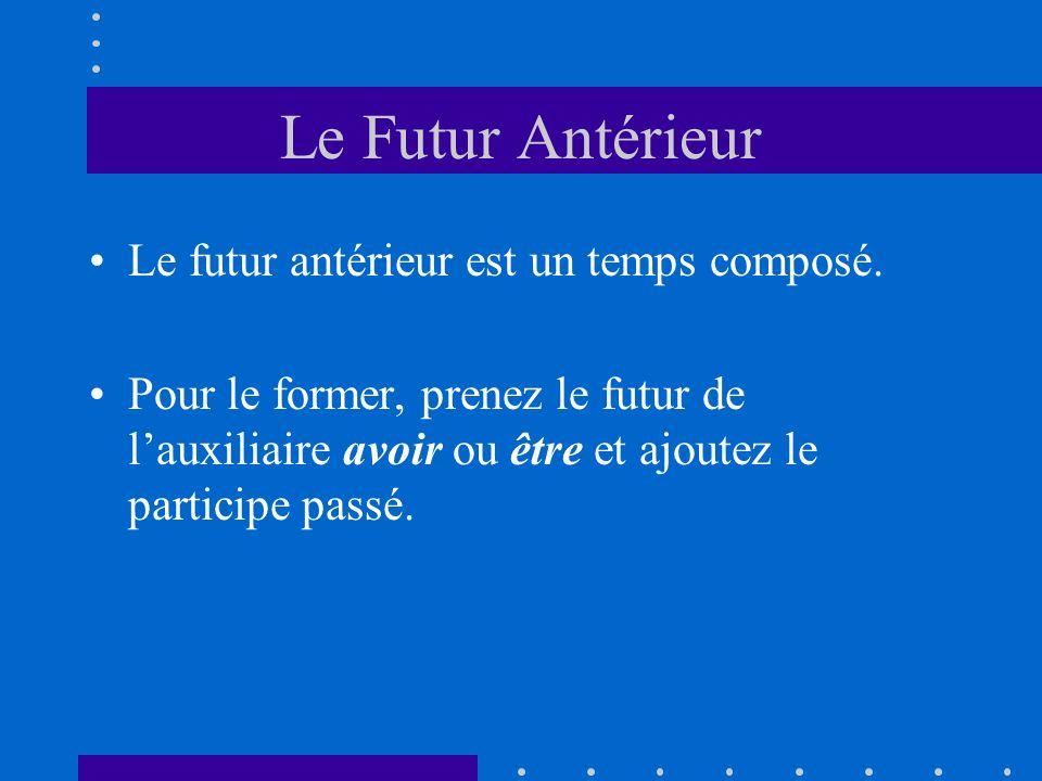 Le Futur Antérieur Le futur antérieur est un temps composé. Pour le former, prenez le futur de lauxiliaire avoir ou être et ajoutez le participe passé