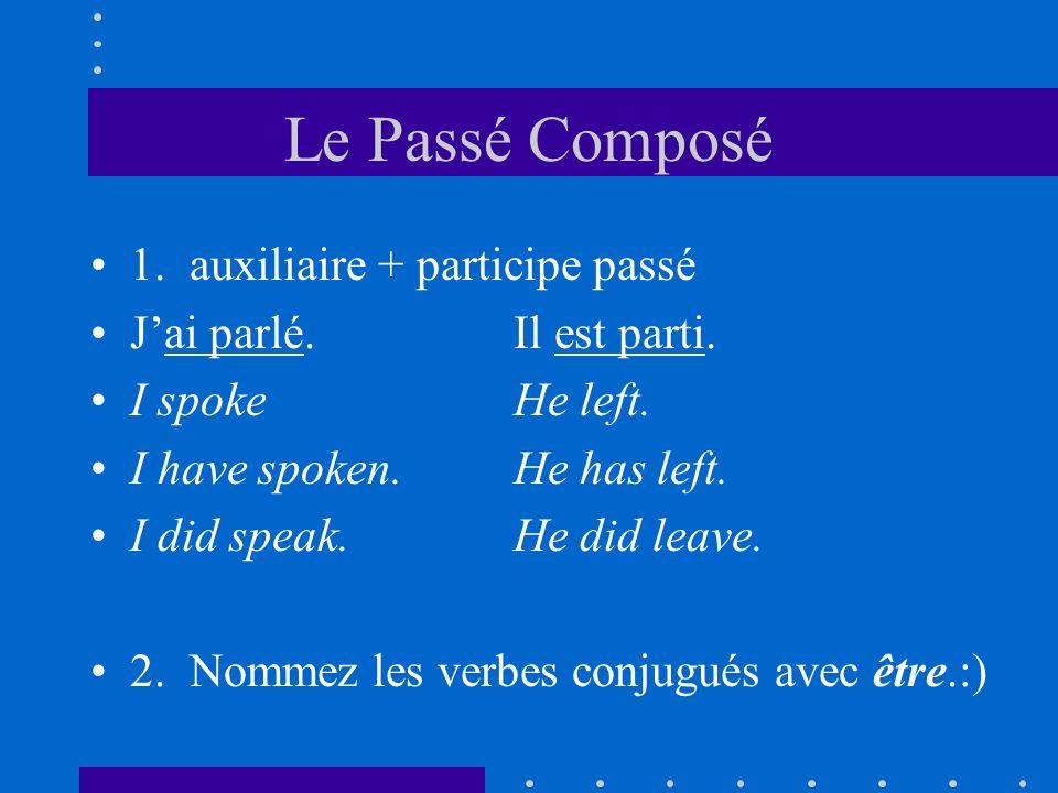 Le Passé Composé 1. auxiliaire + participe passé Jai parlé.Il est parti. I spokeHe left. I have spoken.He has left. I did speak.He did leave. 2. Nomme