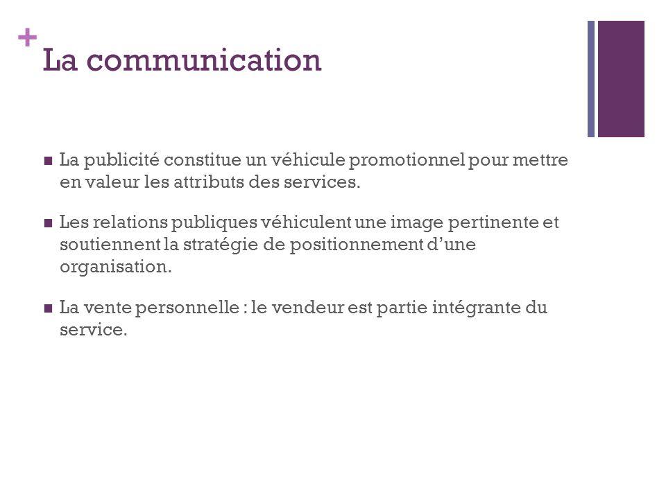 + La communication La publicité constitue un véhicule promotionnel pour mettre en valeur les attributs des services. Les relations publiques véhiculen