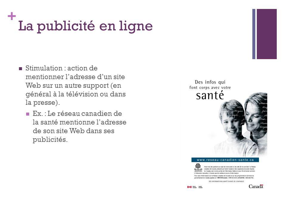 + La publicité en ligne Stimulation : action de mentionner ladresse dun site Web sur un autre support (en général à la télévision ou dans la presse).
