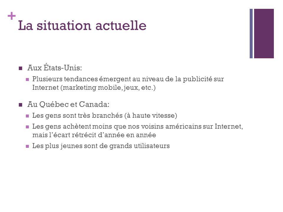 + La situation actuelle Aux États-Unis: Plusieurs tendances émergent au niveau de la publicité sur Internet (marketing mobile, jeux, etc.) Au Québec e