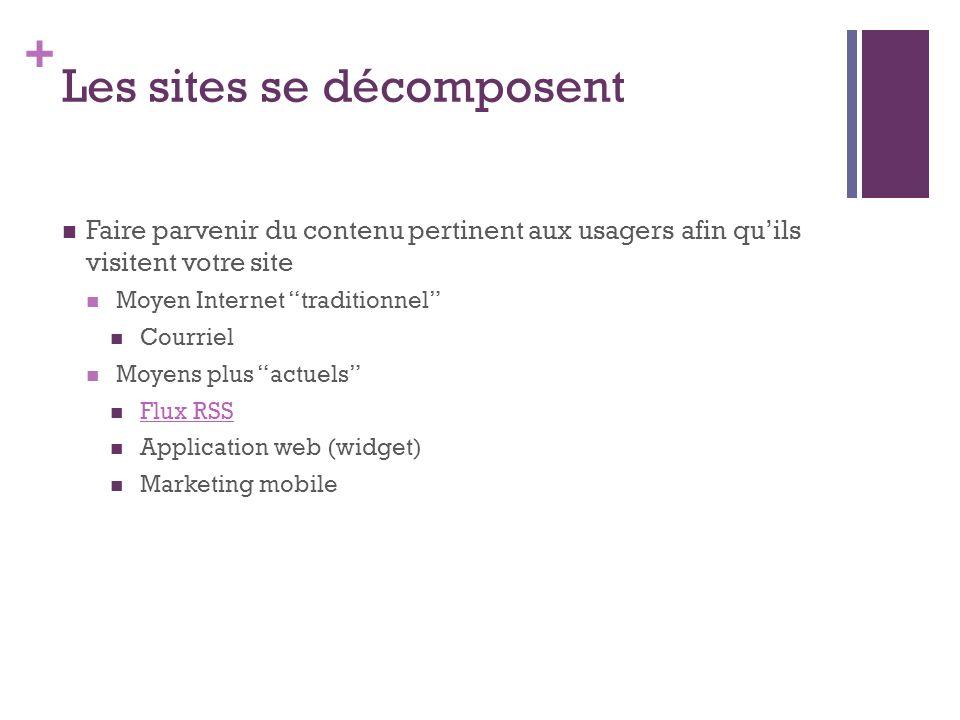 + Les sites se décomposent Faire parvenir du contenu pertinent aux usagers afin quils visitent votre site Moyen Internet traditionnel Courriel Moyens