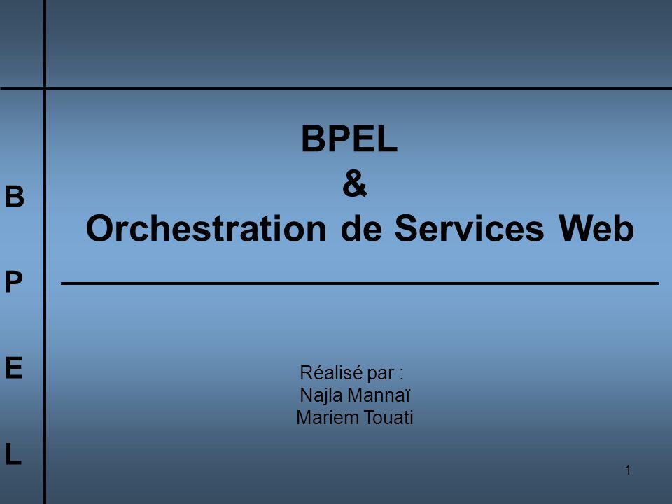1 BPELBPEL BPEL & Orchestration de Services Web Réalisé par : Najla Mannaï Mariem Touati