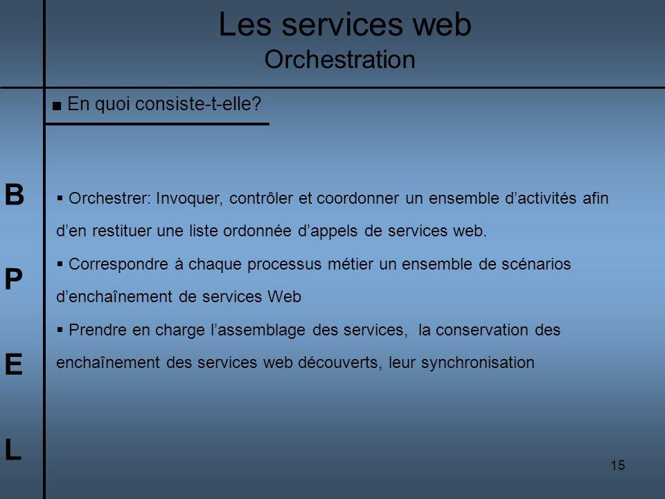 15 BPELBPEL Les services web Orchestration En quoi consiste-t-elle? Orchestrer: Invoquer, contrôler et coordonner un ensemble dactivités afin den rest