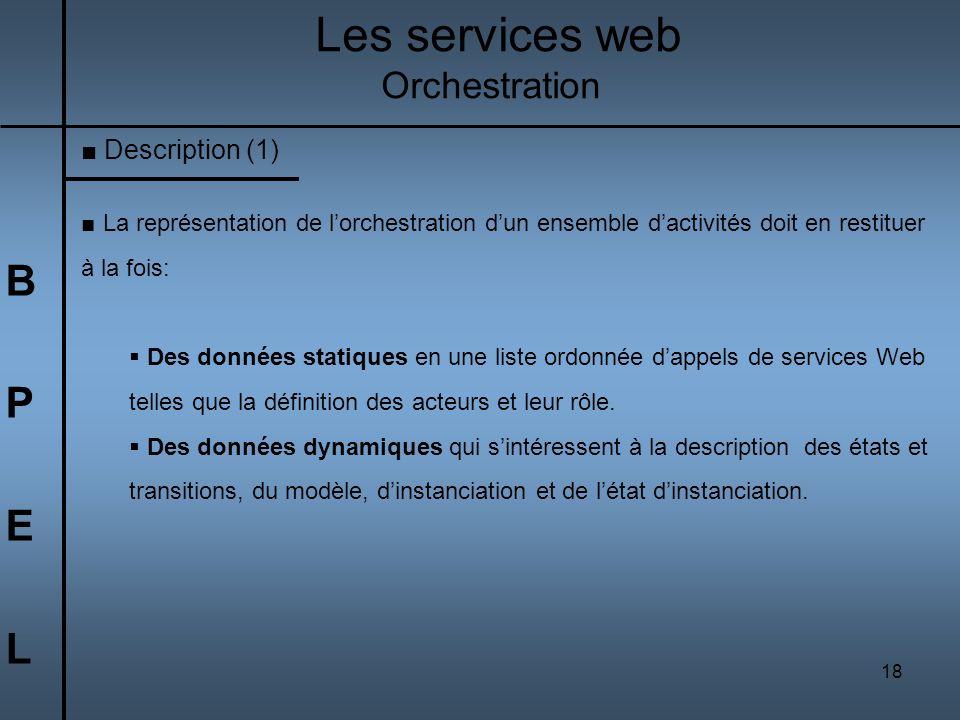18 BPELBPEL Les services web Orchestration La représentation de lorchestration dun ensemble dactivités doit en restituer à la fois: Des données statiq