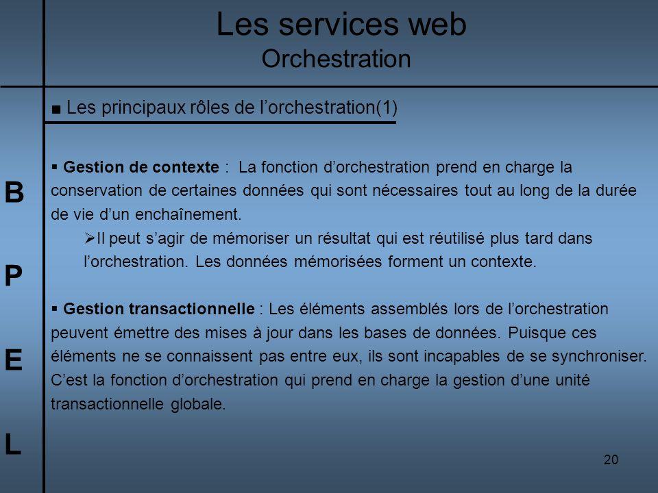 20 BPELBPEL Les services web Orchestration Les principaux rôles de lorchestration(1) Gestion de contexte : La fonction dorchestration prend en charge