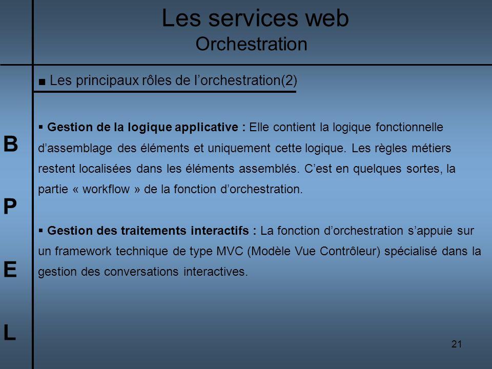 21 BPELBPEL Les services web Orchestration Les principaux rôles de lorchestration(2) Gestion de la logique applicative : Elle contient la logique fonc