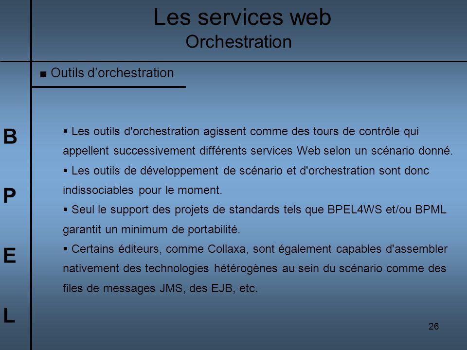 26 BPELBPEL Les services web Orchestration Outils dorchestration Les outils d'orchestration agissent comme des tours de contrôle qui appellent success