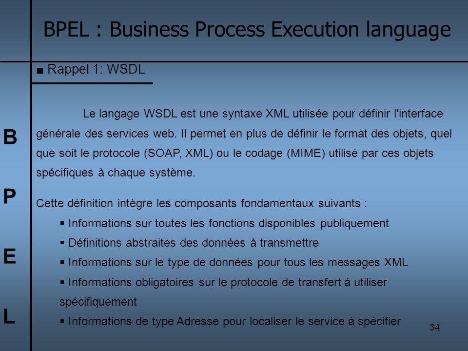 34 BPELBPEL BPEL : Business Process Execution language Rappel 1: WSDL Le langage WSDL est une syntaxe XML utilisée pour définir l'interface générale d