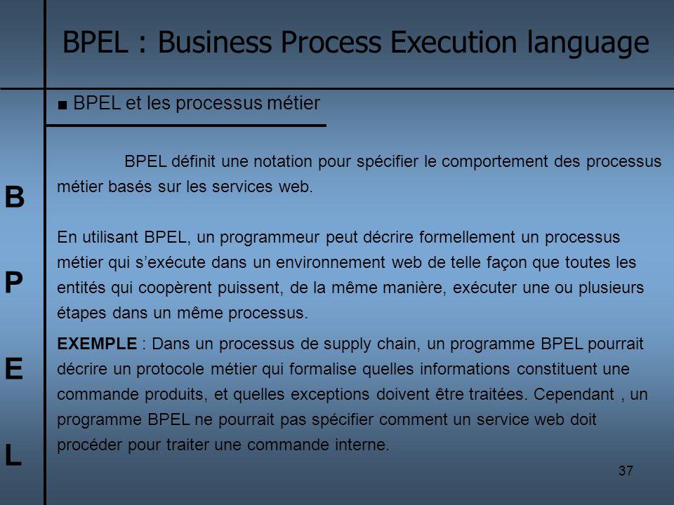 37 BPELBPEL BPEL : Business Process Execution language BPEL et les processus métier BPEL définit une notation pour spécifier le comportement des proce