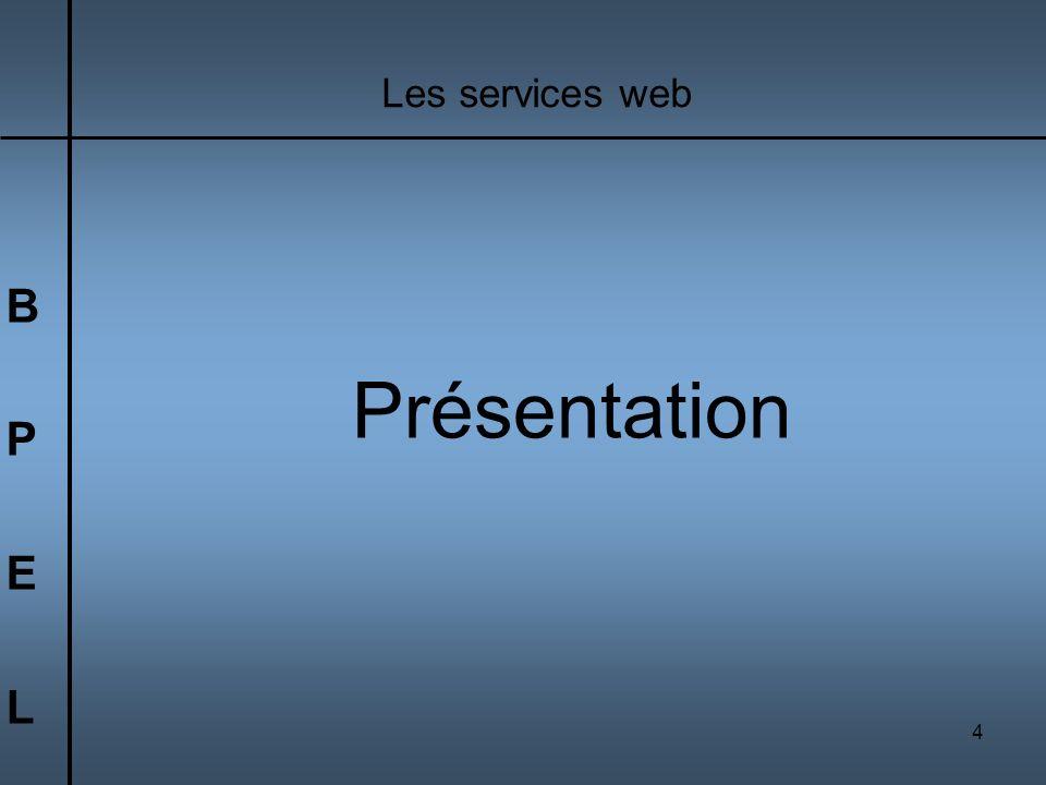 4 BPELBPEL Les services web Présentation