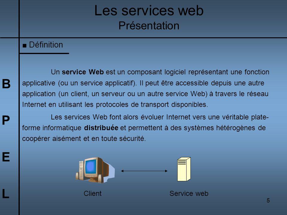 5 BPELBPEL Les services web Présentation Définition Un service Web est un composant logiciel représentant une fonction applicative (ou un service appl