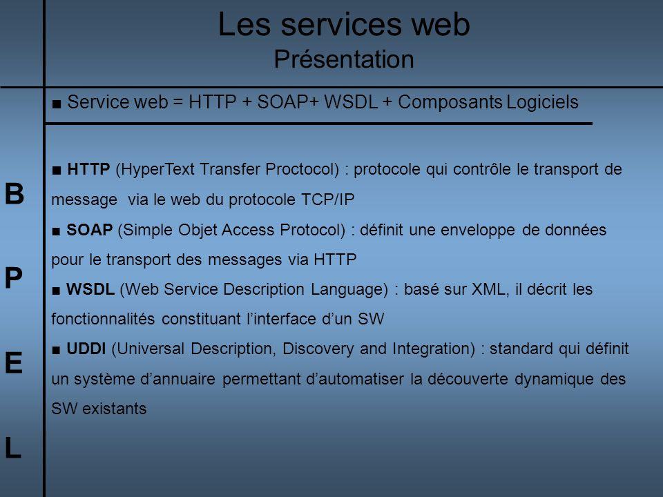 BPELBPEL Service web = HTTP + SOAP+ WSDL + Composants Logiciels HTTP (HyperText Transfer Proctocol) : protocole qui contrôle le transport de message v