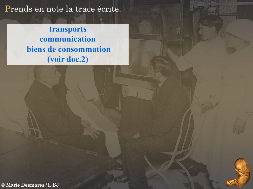 © Marie Desmares / I. BJ Prends en note la trace écrite. transports communication biens de consommation (voir doc.2)
