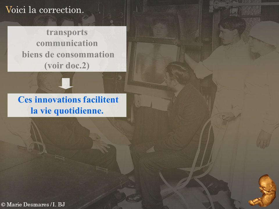 transports communication biens de consommation (voir doc.2) © Marie Desmares / I. BJ Voici la correction. Ces innovations facilitent la vie quotidienn