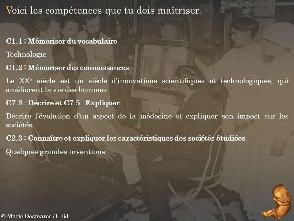 © Marie Desmares / I. BJ Voici les compétences que tu dois maîtriser. C1.1 : Mémoriser du vocabulaire Technologie C1.2 : Mémoriser des connaissances L