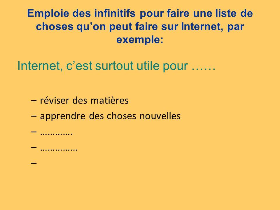 Emploie des infinitifs pour faire une liste de choses quon peut faire sur Internet, par exemple: Internet, cest surtout utile pour …… –réviser des mat