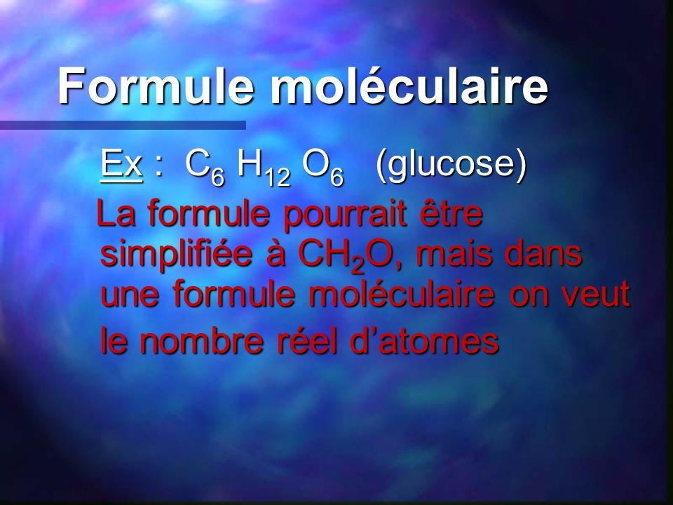 Formule moléculaire Ex : C 6 H 12 O 6 (glucose) Ex : C 6 H 12 O 6 (glucose) La formule pourrait être simplifiée à CH 2 O, mais dans une formule molécu