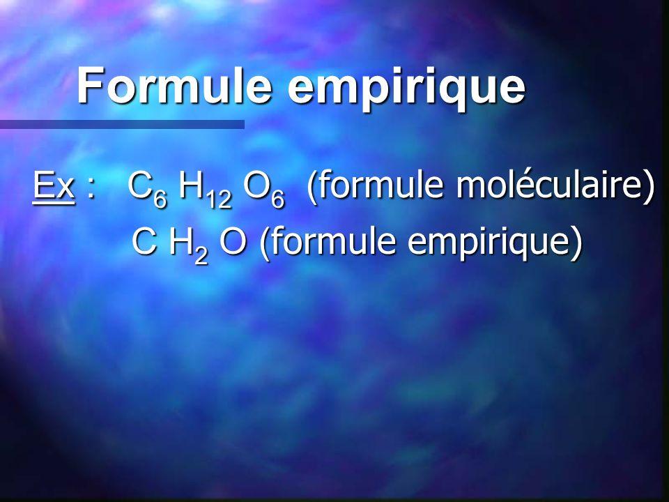 Formule empirique Ex : C 6 H 12 O 6 ( formule moléculaire) C H 2 O ( formule empirique) C H 2 O ( formule empirique)