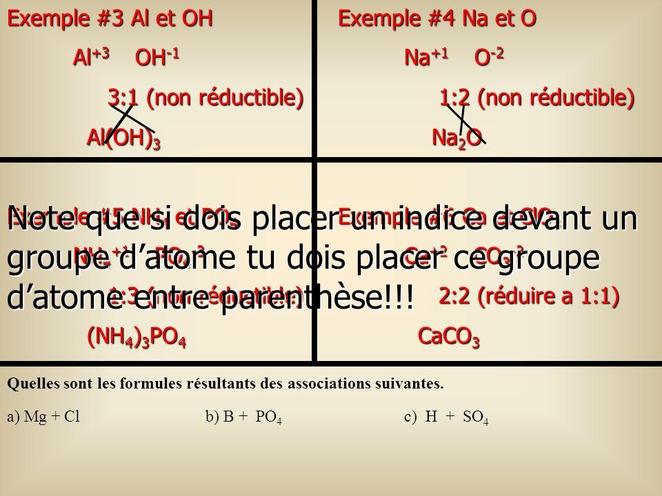 Exemple #6 Ca et ClO 3 Ca +2 CO 3 -2 2:2 (réduire a 1:1) 2:2 (réduire a 1:1) CaCO 3 CaCO 3 Exemple #5 NH 4 et PO 4 NH 4 +1 PO 4 -3 1:3 (non réductible