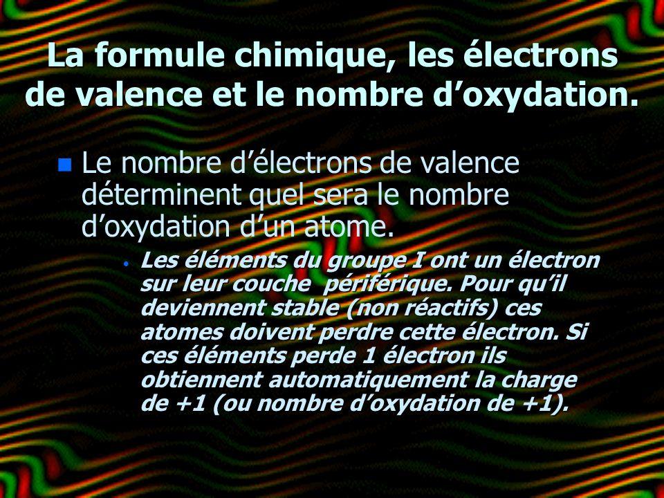 La formule chimique, les électrons de valence et le nombre doxydation. n n Le nombre délectrons de valence déterminent quel sera le nombre doxydation