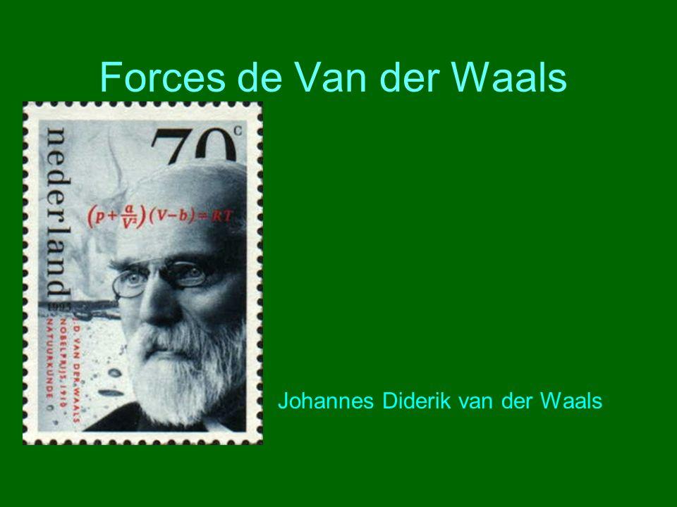 Forces de Van der Waals Johannes Diderik van der Waals