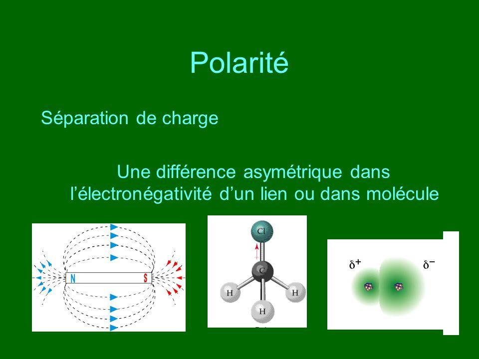 Polarité Séparation de charge Une différence asymétrique dans lélectronégativité dun lien ou dans molécule