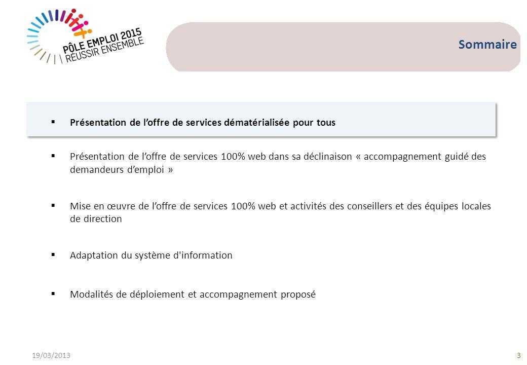 Sommaire 19/03/20133 Présentation de loffre de services dématérialisée pour tous Présentation de loffre de services 100% web dans sa déclinaison « acc