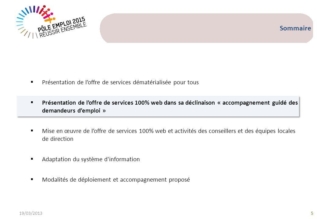 19/03/20135 Sommaire Présentation de loffre de services dématérialisée pour tous Présentation de loffre de services 100% web dans sa déclinaison « acc
