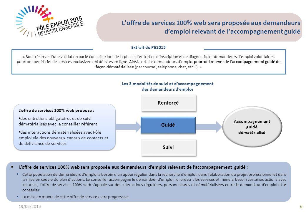 Loffre de services 100% web sera proposée aux demandeurs demploi relevant de laccompagnement guidé 19/03/20136 « Sous réserve dune validation par le c