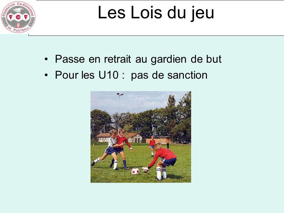 Les Lois du jeu Passe en retrait au gardien de but Pour les U10 : pas de sanction