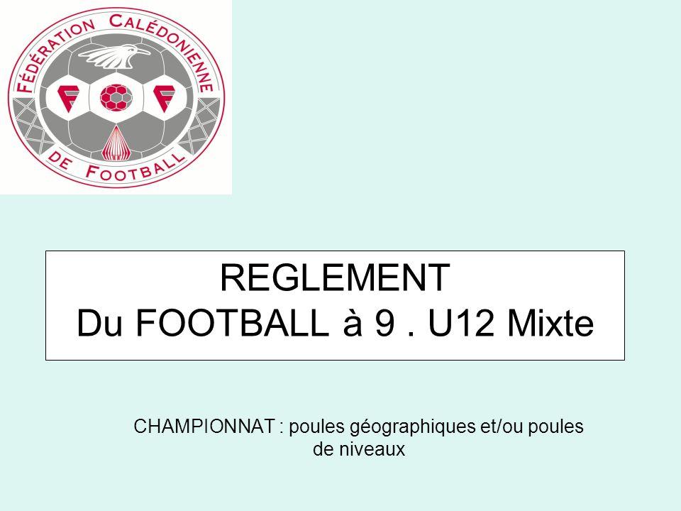 REGLEMENT Du FOOTBALL à 9. U12 Mixte CHAMPIONNAT : poules géographiques et/ou poules de niveaux