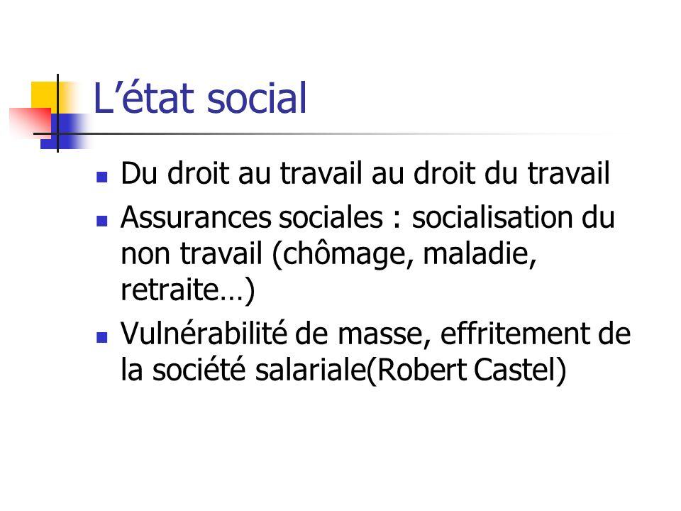Létat social Du droit au travail au droit du travail Assurances sociales : socialisation du non travail (chômage, maladie, retraite…) Vulnérabilité de masse, effritement de la société salariale(Robert Castel)